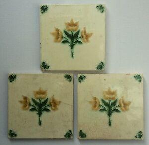 3 Original Victorian Decorative Tiles