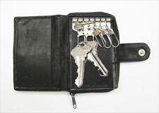BLACK MEN'S GENUINE LEATHER KEY CHAIN Accordion Coin Holder Zip Wallet``