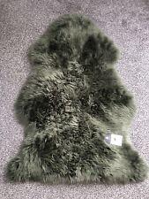 100% Genuine Sheepskin Rug In Dusty Forest Green Retro Throw Real Fluffy