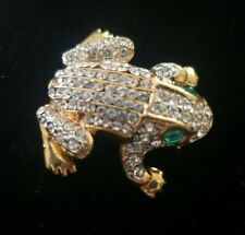 New Premier Designs Frog Pin/Brooch Gold With White Rhinestones And Green Eyes