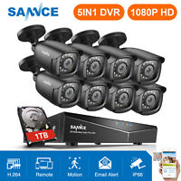 SANNCE 1080P HDMI 8CH DVR 2MP Video CCTV 3000TVL Security Camera System APP 1TB