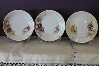 """VINTAGE SET OF 3 LIMOGES W G & CO WM GUERIN FRANCE 6-5/8"""" PLATES WITH ROSES"""