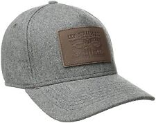 Levis Mens Solid Melton Baseball Cap with Signature Leather Horse, Charcoal, One