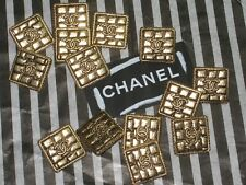 CHANEL 7 gold  METAL CC LOGO BUTTON SQUARE 16 MM X 16 MM NEW BRICK STYLE LOT 7