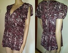 WAYNE by Wayne Cooper Size 16 The Reds Print Blouse