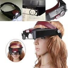10X Lighted Magnifying Glass Headset LED Light Head Headband Magnifier Loupe *&