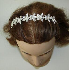 Flower Headband Crystals New Silver Tone Wedding Jewelry Hair Accessory