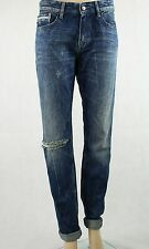 Calvin Klein Mens Blue Slim Jeans Scarred Ripped Knee W32 L34 RRP £150