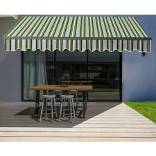 ALEKO Black Frame Retractable Home Patio Canopy Awning 10 x 8 ft Multi Green