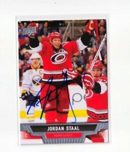 "JORDAN STAAL autographed SIGNED '13/14 CAROLINA HURRICANES ""Upper Deck"" card"