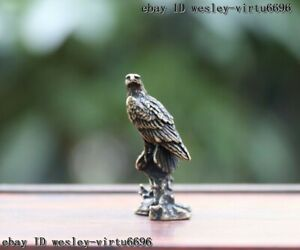 China Copper Bronze Feng Shui Lucky Eagle Hawk Bird Wealth Animal Statue T057