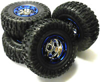 BS703-004 1/10 RC Rock Crawler Off Road Wheels and Tyres 4 Blue Plastic Beadlock