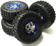 BSD Bs703-004 1/10 Scale RC Rock Crawler off Road Wheels and Tyres 4 Blue Plastic