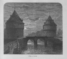 Stampa antica COURTRAI KORTRIJK ponte Belgio 1879 Antique Print Ancien Gravure