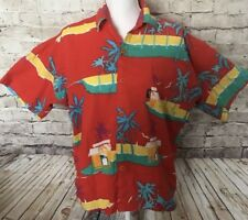 Norfleet Hawaii Red Beach Scene Vintage Hawaiian Button Down Shirt Size Small