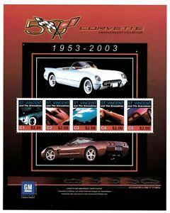 St. Vincent 2003 SC# 3117 Corvette Anniversary, Car Auto - Sheet of 5 Stamps MNH