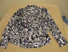 Christopher & Banks Size S Black White Blue Abstract Floral Blouse, long sleeves