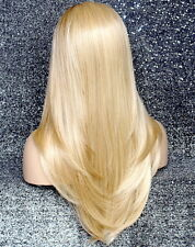 Human Hair Blend Full Lace Front Wig Long sillky Blonde Mix smooth Heat OK RDH