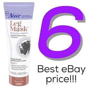 6 Nair Leg Mask Brighten & Smooth Clay Charcoal 8 oz Hair Remover Lot Men Women