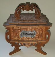 Carved cedar wood vintage Art Deco antique footed handkerchief box