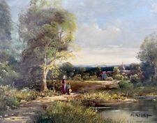 Hübsches Ölbild: Landschaft Voralpen mit Dorf signiert