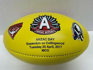 AFL ANZAC DAY 2017 SHERRIN ESSENDON v COLLINGWOOD YELLOW LEATHER GAME FOOTBALL