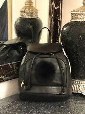 Rucksack Leder Vintage Tasche Pelz Schwarz