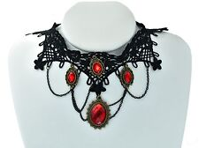 Victorian Gothic Black lace And Red Crystal Gem Choker Bib Necklace