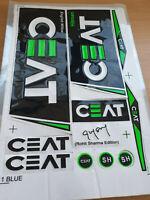 *3D/EMBOSSED* CEAT GREEN/BLACK CRICKET BAT STICKER + 1 FREE 2D STICKER