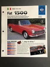 """1959 - 1966 Fiat 1500 Spider IMP """"Hot Cars"""" Spec Sheet Folder Brochure Awesome"""