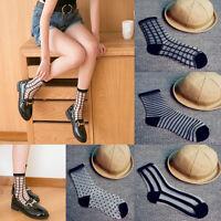 Fashion Women SILK Ultrathin Transparent Crystal Lace Elastic Ladies Socks