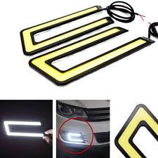 One set 12V 6W U Shape COB LED White Autos Fog Lights DRL Driving Lamps Strips
