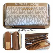 NWT MICHAEL KORS SIGNATURE JET SET TRAVEL CONTINENTAL WALLET IN VANILLA/ACORN