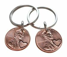 Double Keychain Set 2006 Penny with Heart Around Year; 11 Year Anniversary Gift