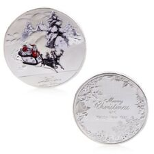 Silvery Merry Christmas Santa Claus Deer Sleigh Commemorative Coins Gift Craft