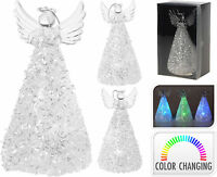 Lovely Glass LED Christmas Angel Colour Changing Light Christmas Decoration