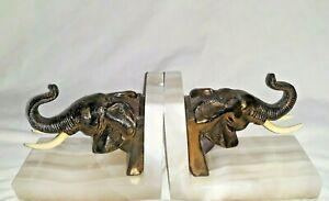 Vtg Elephant Head Bookends Brass Marble Quartz Base Tusks Trunks Up