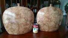 MCM Burl Wood Finish Disc Vases (pair) Earthenware with Burl Wood Finish - RARE