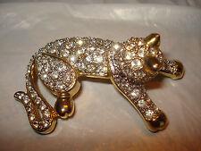 Stunning Vintage Kuo Signed Rhinestone Cat Brooch Pin