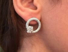Diamond Pave Circle Earrings with Diamond Floret in 18K White Gold - HM1553