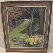 Framed Margaret Seaton Oil on Canvas Painting Picture Garden Scene