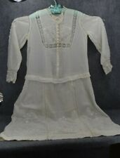 antique dress white lawn embroidered Edwardian med-lg original 1890 very good
