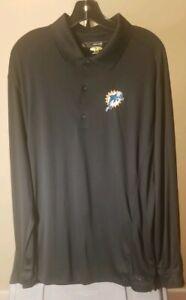 Miami Dolphins NFL Greg Norman Black Team Logo XL Long Sleeve Shirt Golf Package