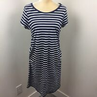 Womens Old Navy Maternity Navy Blue & White Short-Sleeved Ruched Stretch Dress M