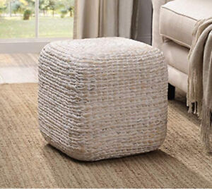Woven Water Hyacinth Square White Wash Ottoman Contemporary Natural Stool Table