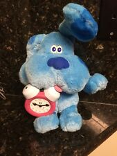 "1998 TYCO TOY 14"" BLUES CLUES TALKING Blue Dog Pink Clock Plush Figure Working"