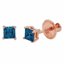 0.5 ct Princess Solitaire Natural London Blue Topaz Stud Earrings 14k Rose Gold