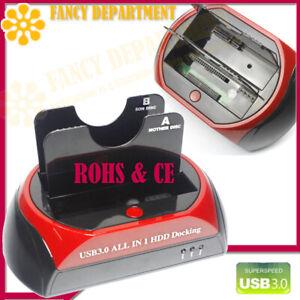 "USB 3.0 Dual Clone SATA IDE 2.5"" 3.5"" Hard Disk Drive HDD Dock Docking Station"