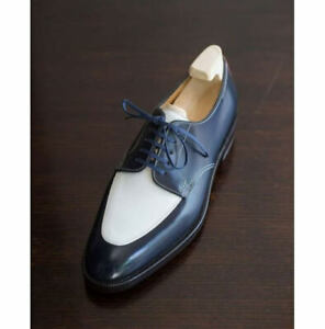 Handmade White Blue Leather Lace Up Round Toe Men's Shoes