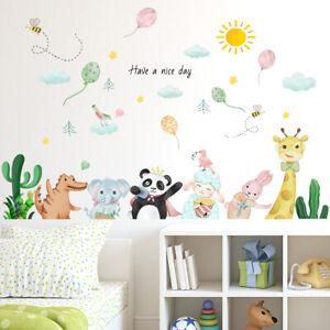 Cartoom Elephant Panda Wall Decal Balloon Sticker DIY Nursery Baby Room Decor